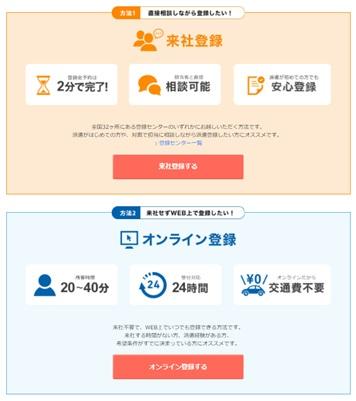リクルートスタッフィング・WEB登録・登録方法の選択