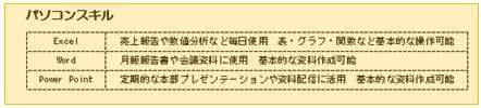 職務経歴書・パソコンスキル