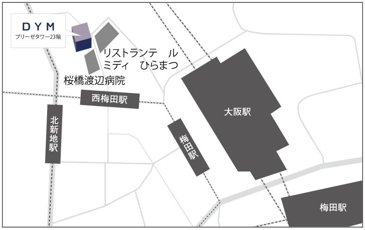 DYM就職大阪拠点マップ